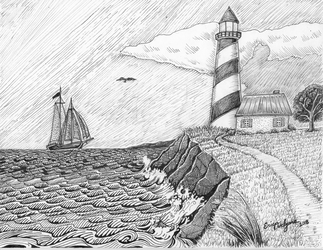 Lighthouse black and white by DarkRubyMoon
