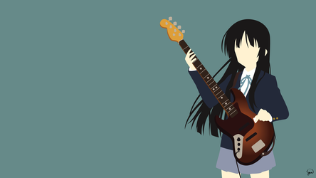 Mio Akiyama (K-On!) Minimalist Wallpaper by greenmapple17