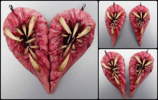 Meat heart bff pendant set by dogzillalives