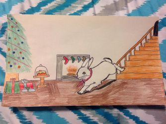 A Bunny eager to see what Santa left him for X-mas by PhatPandaPo23