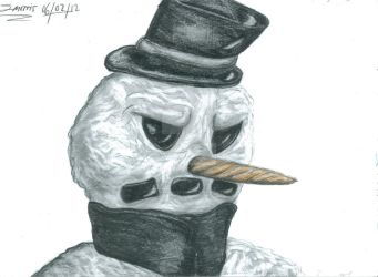 Freaky The Scary Snowman Drawing by TheArtfulShow