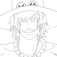 Portgas D. Ace Lineart by lordbalda