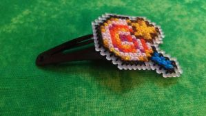 Kirby Lollipop Cross Stitched Hair Clip by Sirithre