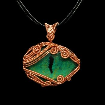 Green Dragon Eye Wrapped in Copper by Gailavira