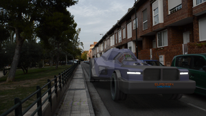CG Car on a street motion track