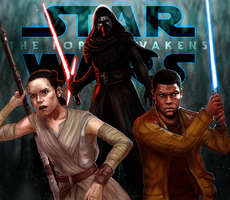 Star Wars The Force Awakens : Finn, Rey, Kylo Ren by Reiup