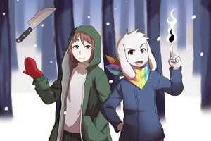StoryShift - Chara and Asriel (300w Special) by SpitLeon