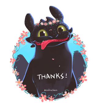 Toothless with flowers by ColnChen