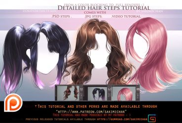 Detailed hair steps tutorial pack.promo. by sakimichan