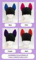 Wolf Hats in Black Bright Neon Rave Colors by cutekick