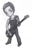 Green Day Mike Dirnt Chibi with Markers by ArkemasPride
