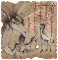 Unicorns on Parchment by tursiart