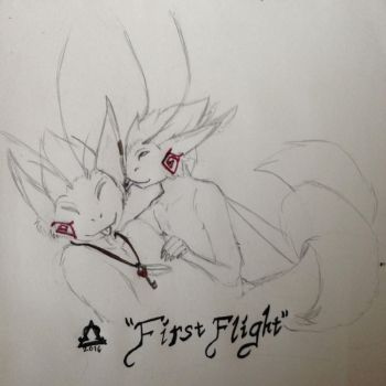 First Flight - Sketch by Omega-Wolf-Arts