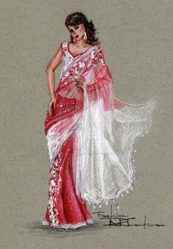 Saree/ Sari drawing layered sheer fabrics by FashionARTventures