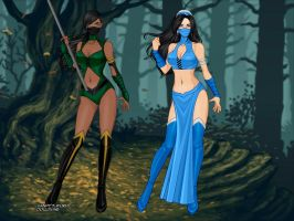 Mortal Kombat 9 - Jade and Kitana by Jaz-Merigold