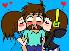 Me And Tiger Kissing Herobrine by streamer566666