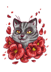 flowers cat by Fufunha