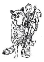Rocket and Groot by kittycheetah14