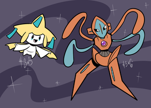 Jirachi, Deoxys by RoastedStix
