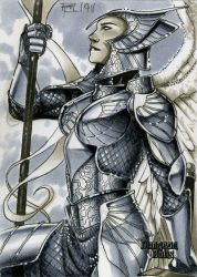 Archangel Dungeon Dolls Sketch Card by RichardCox