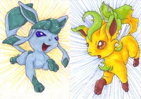 ACEO Leafeon and Glaceon by Zun0