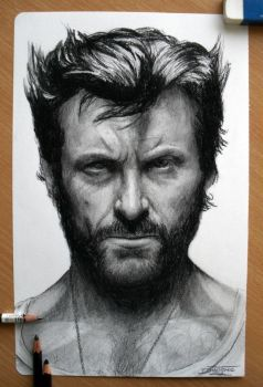 Hugh Jackman Pencil drawing as Wolverine by AtomiccircuS