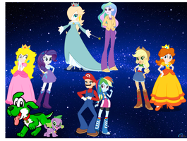 mlp Equestria girls and super Mario characters in  by DANIOTHEMAN