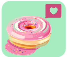 Pink Frosted Heart Donut by MagicalMoments16