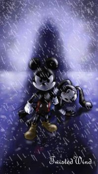 fan art: Mickey protect Oswald by twisted-wind