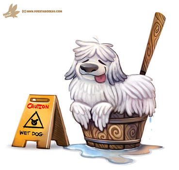 Daily Paint #1122. Mop Dog by Cryptid-Creations