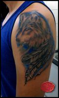 wolf tattoo...in blue by loop1974
