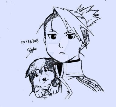 Riza Hawkeye and Black Hayate by SkipStep