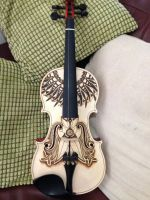 Violin Pyrography Project Complete! by DC-Pyrography