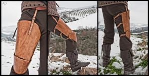 Leather Thigh Protection for Historical Fencing by Adhras