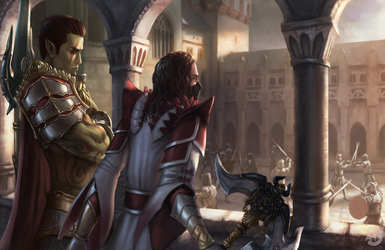[CM] DnD Orc and Warrior by bearcub