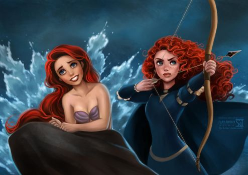 Ariel and Merida by daekazu