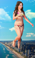 Giantess Vanessa's Beach Stroll by dochamps