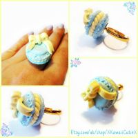 Macaroon Ring, Pastel Blue and Mint Green With Bow by xhellojackiex