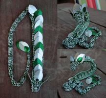 Seafoam, Green, and White Chainmaille Dragon by Ichi-Black