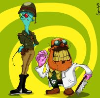 Psychonauts: Soldier Loboto and Surgeon Oleander by EggmanFan91
