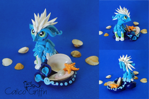 Zee the ocean griffn - polymer clay sculpture by CalicoGriffin
