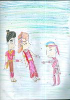 Aang meeting Zuko and Akiko as Kazuo and Aiko by Kelseyalicia