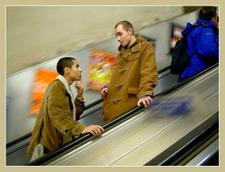 two boys and an escalator by foalface