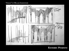 Hamlet. Development of scenery for the theater by gekatarina