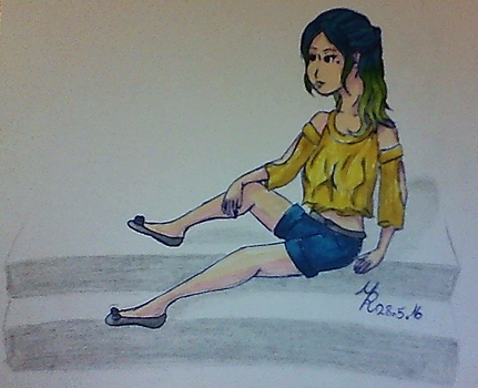 Girl sitting on stairs by MonsteRere