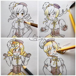 Coloring Mami Part 1 .:Comm:. by colorfulkitten