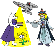 Toriel and Irradel and Flowey 003 by florapolitis
