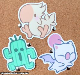 Chocobo, Cactuar, Moogle stickers now available! by Nyaasu