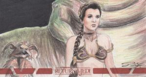 Star Wars ROTJ 3D - Slave Leia Sketch Card by DenaeFrazierStudios