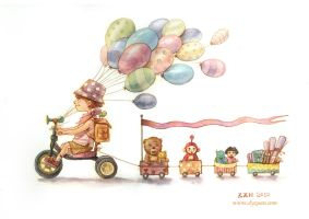DouDou and her toys by JodyZhou